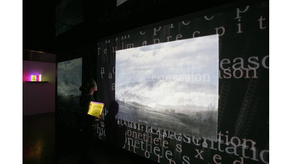The Sublime- The Space of Heterotopia I (#1 Casper David Fridriech), 2009, 1 channel interactive media installation, mirror cube, 300 x 300 x 300 cm