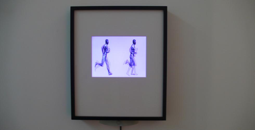 Alan Rath, Double Running Man, 2006, glass, wood, garolite, G-10, PVC, polypropylene, custom electronics, LCD, 27 x 21 x 3
