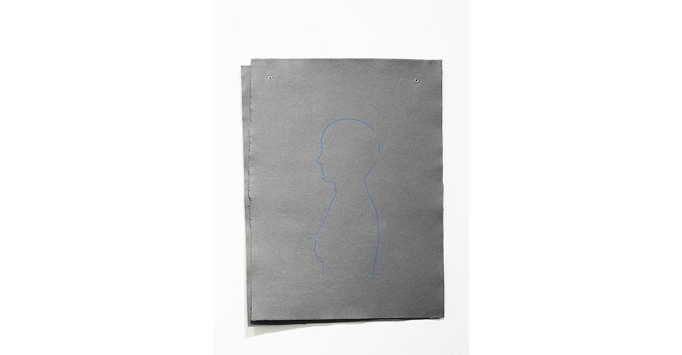 average female (breathe), 2012, embroidery floss, 2 sheets handmade paper (55.5 x 75.5 cm each), grommets, 78 x 59 cm