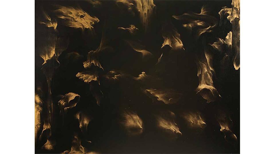 Secret Garden #251_black,gold, 2011, acrylics, oilstick on canvas, 194×259cm