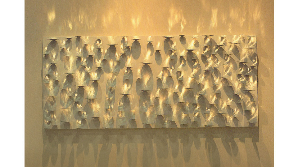 Kwon, Yong-Rae, Eventide-Riverside, 2007, stainless steel on canvas, 180 x 160 cm
