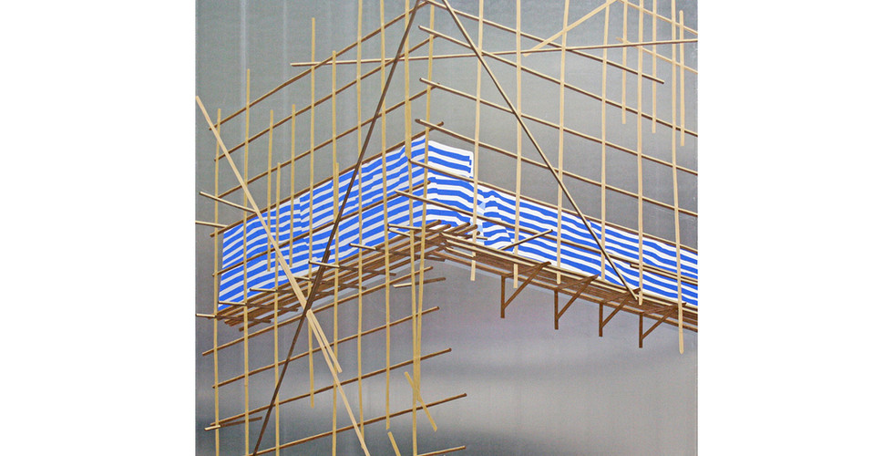 Stripe Project 줄무늬 프로젝트, 2015, self adhesive vinyl on aluminium sheet, 91.5x91.5cm