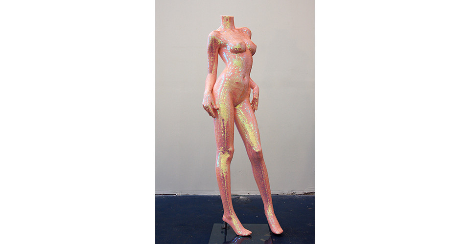 Noh, Sang-Kyoon, What Are You Looking For #71005, 2007, sequins on the mannequin of polyester resin and fiberglass, 167 x 52 x 49 cm