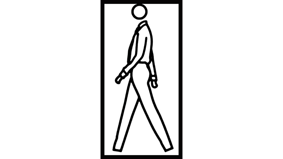Julian Opie, Jack, Walking, 2007, computer film, 46'' LCD, PC, 46'' monitor, 110 x 66 x 12 cm