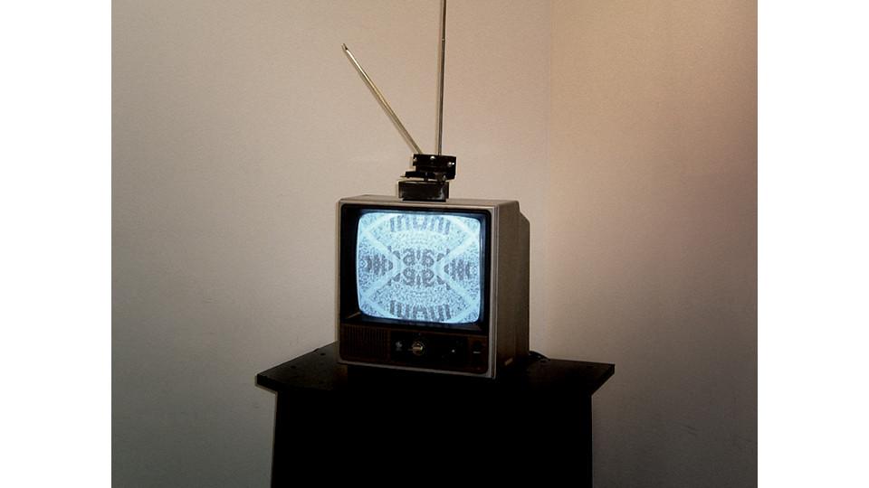 Inter-Whactive TV, 2003, classic TV, 3 potentiameters, touch sensor, piezo sensor, Macintosh, pic microchip, and MaxMspJitter