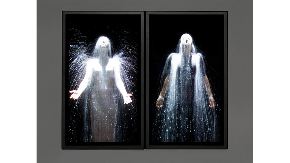 The Innocents, 2007, color high-definition video diptych on plasma displays mounted on wall, 91.4 x 111.8 x 10.2 cm