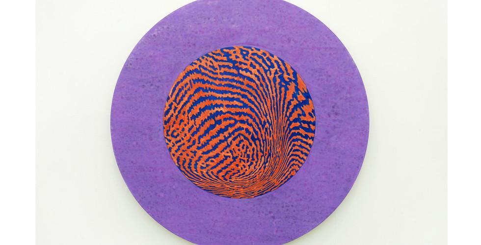 A Particle_#2180502_2018_acrylic&phosphorescent pigment on aluminium plate_Ø60cm-