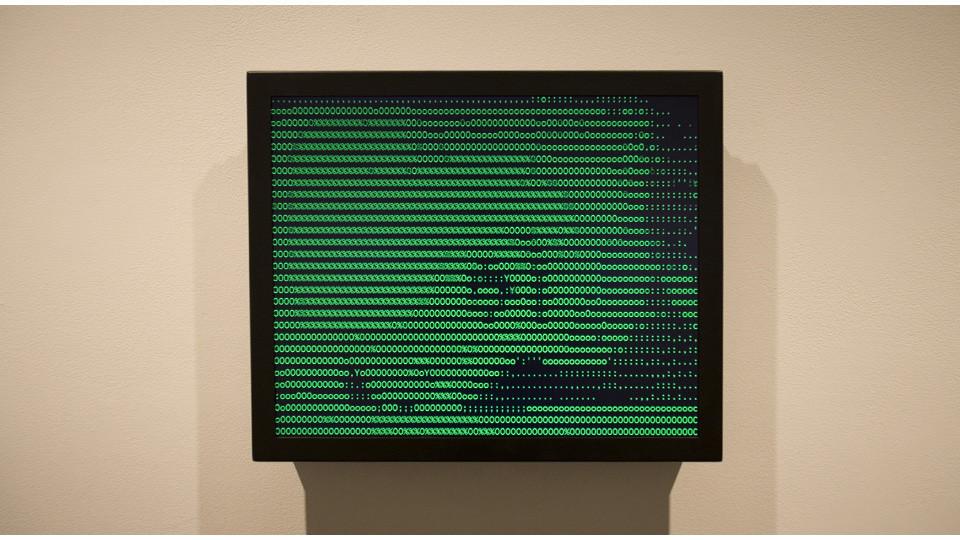 Vuk Cosic, ASCII History of Moving Image (Psycho), 1999, JAVA applet, hard drive, monitor, 16.5 x 13.5 x 3, edition of 4