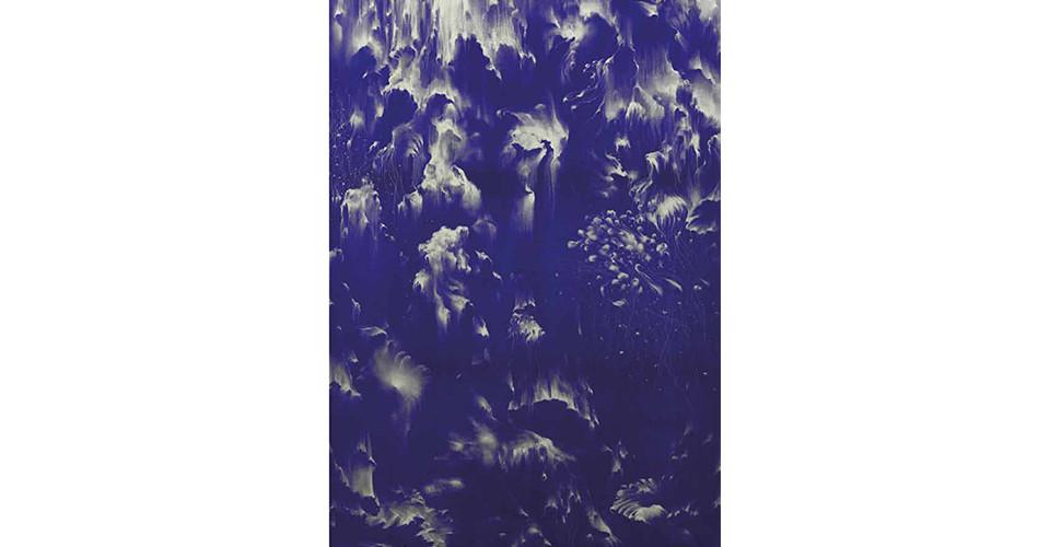 Secret Garden #267_ultramarine blue, silver, 2011, acrylics, oil stick on canvas, 146 × 98 cm