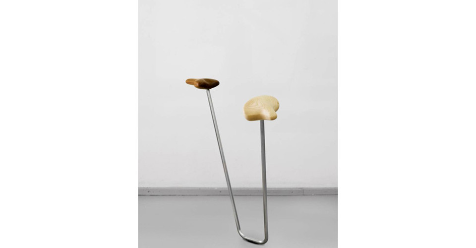 Boot and Saddle, 2009, white ash wood, stainless steel, 100 cm (h)