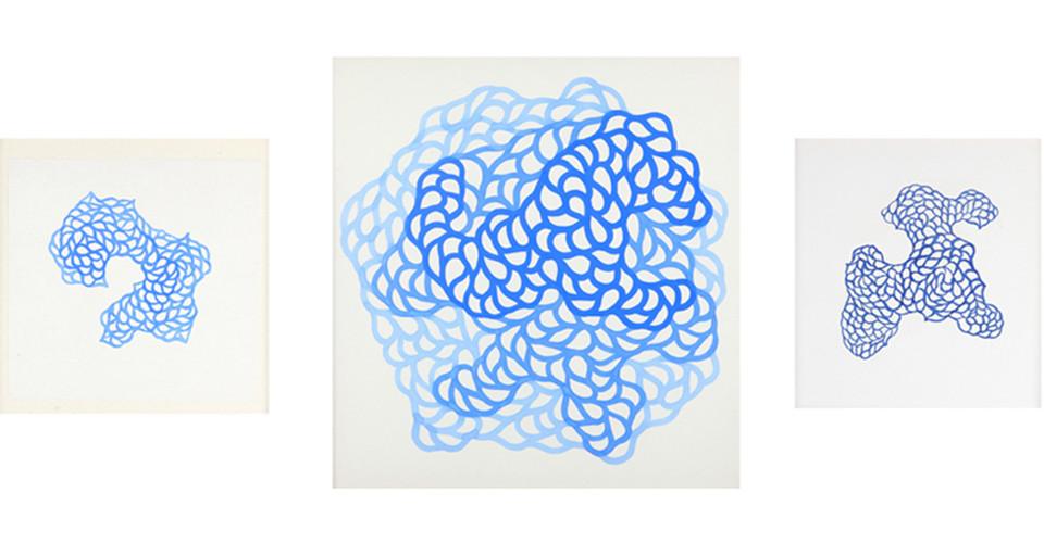 '기억의 노선'을 위한 드로잉(Drawing for 'Circuit of Memory'), 2010, ink on paper, 25 x 25 cm, 79 x 79 cm, 23 x 23 cm