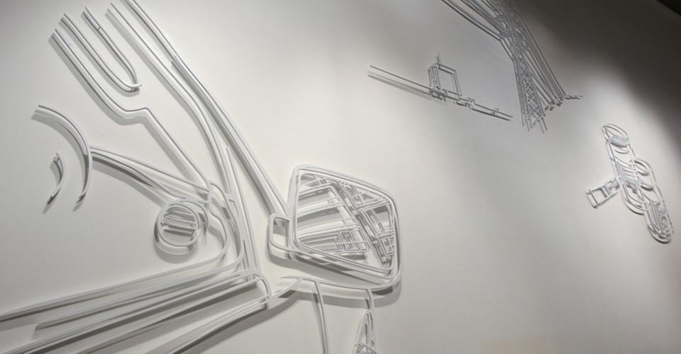 Drawing-Sculpture, 2010, aluminum, 153 x 146 cm, 140 x 190 cm