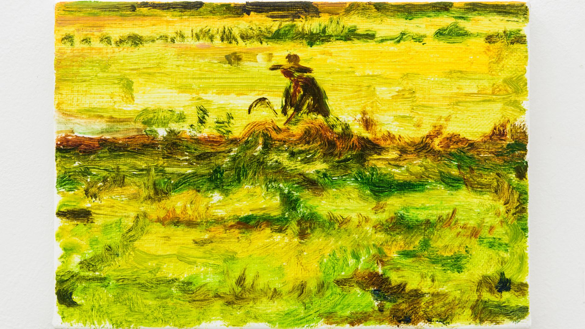Hyein Lee, 2016, 9, 5 18시30분-19시12분 풀베기, 2016, oil on canvas, 15.5x23cm