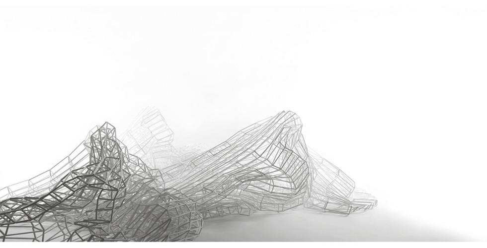 Jinnie Seo, A Piece of Sky II, 2015, 5 pieces 2 x (120x120x294cm), 2 x (90x90x196 cm),1 x (70x70x154cm), plastic open cube tubes, silicon strings