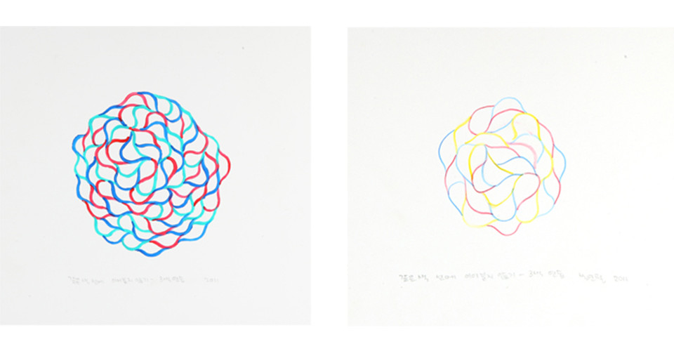 '기억의 노선'을 위한 드로잉( Drawing for ' Circuit of Memory'), 2011, acrylic on paper , 32.5 x 31 cm