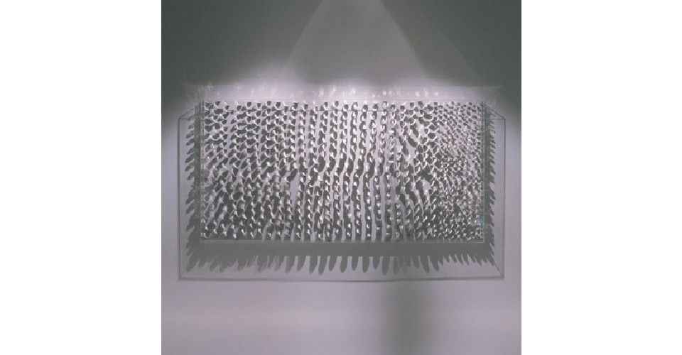 The Water-Light-A Road, 2006, stainless steel on canvas, 180 x 90 cm