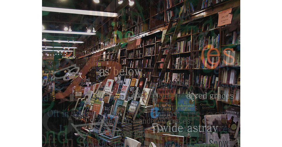 Space of Text in N.Y. Books, 2009, 3D lenticular mounted on aluminum, 120 x 88 cm