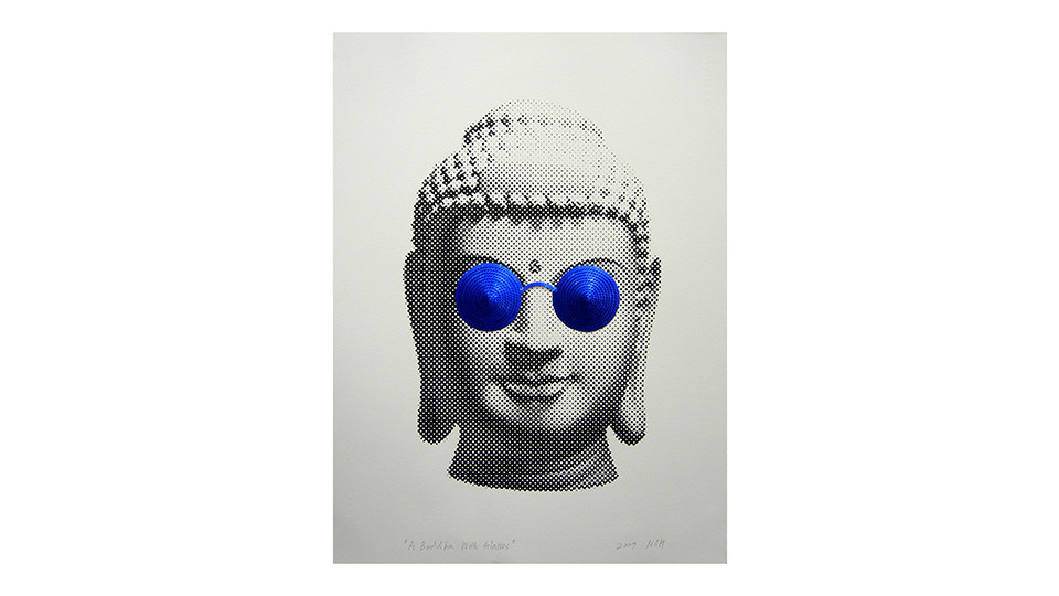 Noh, Sang-Kyoon, A Buddha with Glasses, 2007, sequins and silkscreen on paper, 56 x 76 cm