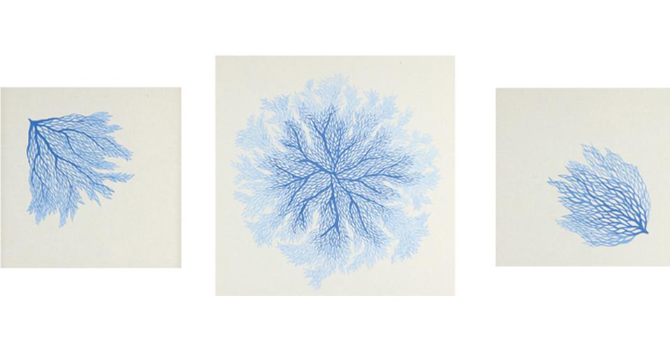 물의 흐름(Water Flow)#4, #5, #6, 2011, korean ink on paper, 30 x 30 cm, 40 × 40 cm, 30 × 30 cm
