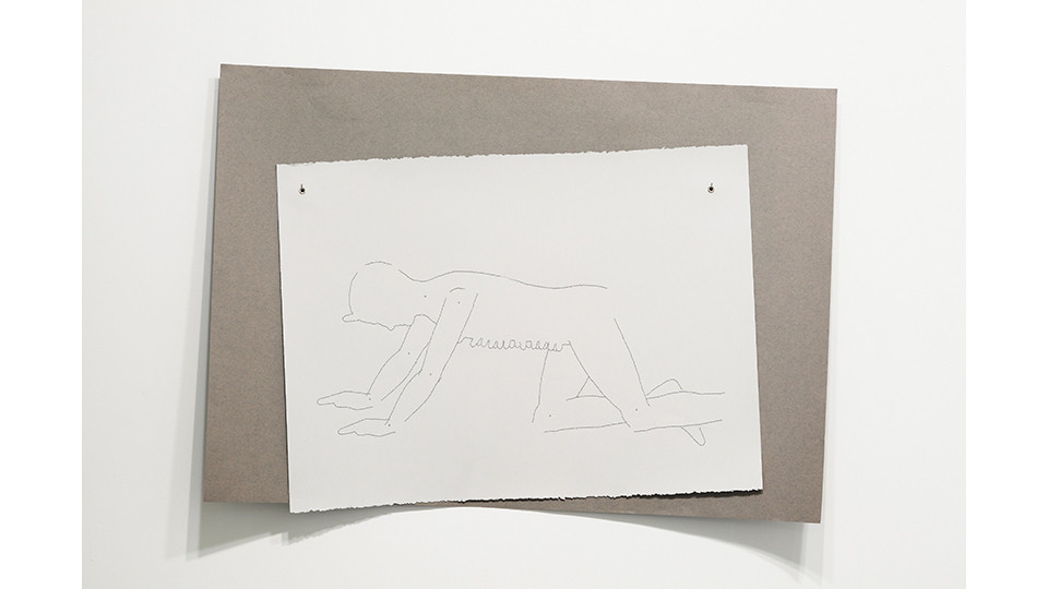 average male (cowboy), 2012, embroidery floss, 2 sheets rag paper (76.5 x 56 light gray; 70 x 100 dark gray), grommets, 74 x 100 cm