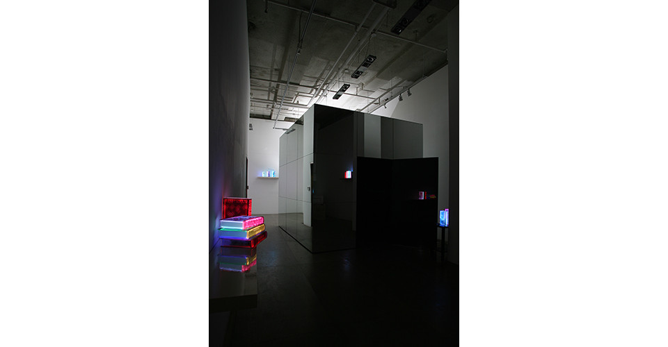 The Sublime-The Space of Heterotopia I, 2009, 1 channel interactive media installation, mirror cube, 300 x 300 x 300 cm