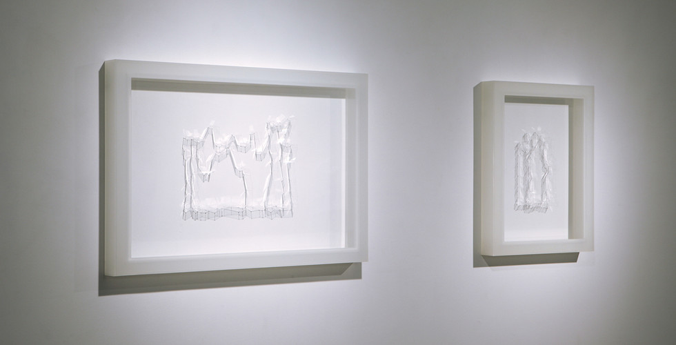 """Writing 1,2"", 2014, Polycarbonate, 42 x 51(h)cm, 75 x 51(h)cm"