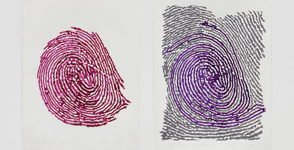 Noh, Sang-Kyoon, (Left) Self Portrait (#170210), 2017, sequins on paper, 75.4x56cm (Right) Self Portrait (#170214), 2017, sequins and acrylic on paper, 76x56cm