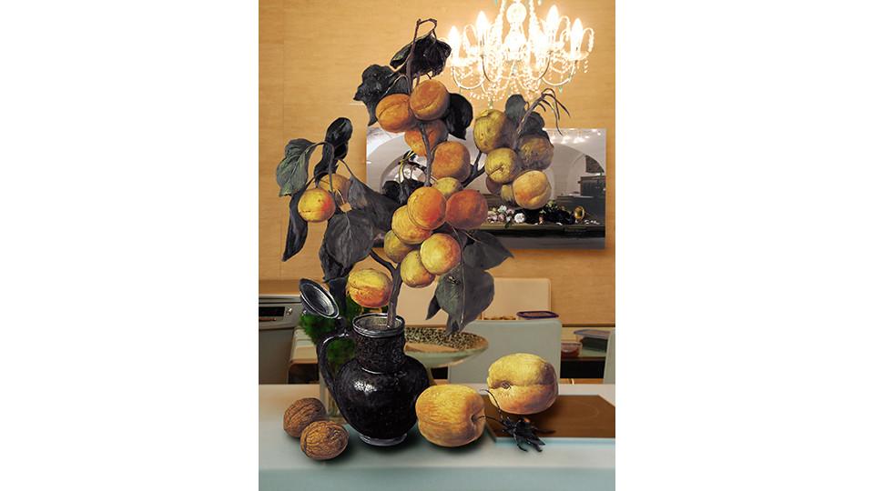 "Bae, Joon-Sung, ""The Costume of Painter""- Still life with peach & A.Tadema, 2007, lenticular, 120 x 178 cm"