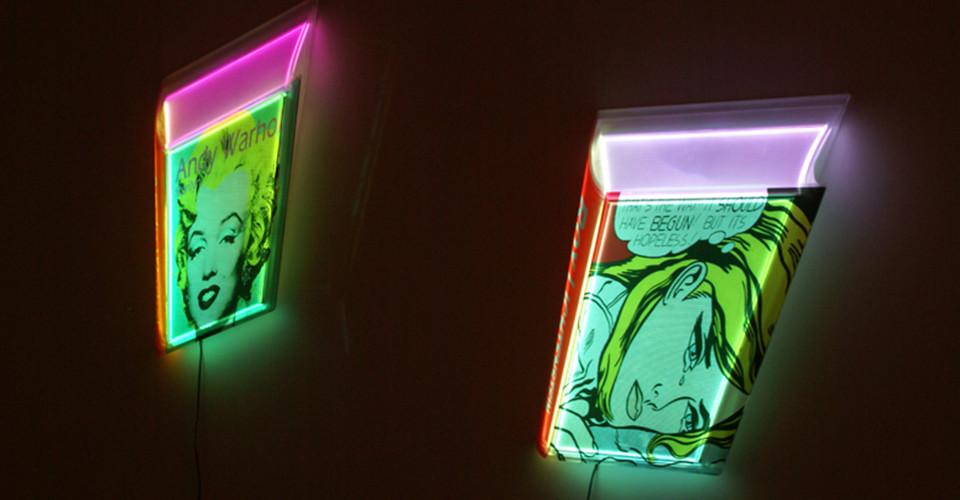 Airan Kang, Transformed Book - Andy Warhol, Roy Lichtenstein, 2011, plastic Box, LED lighting