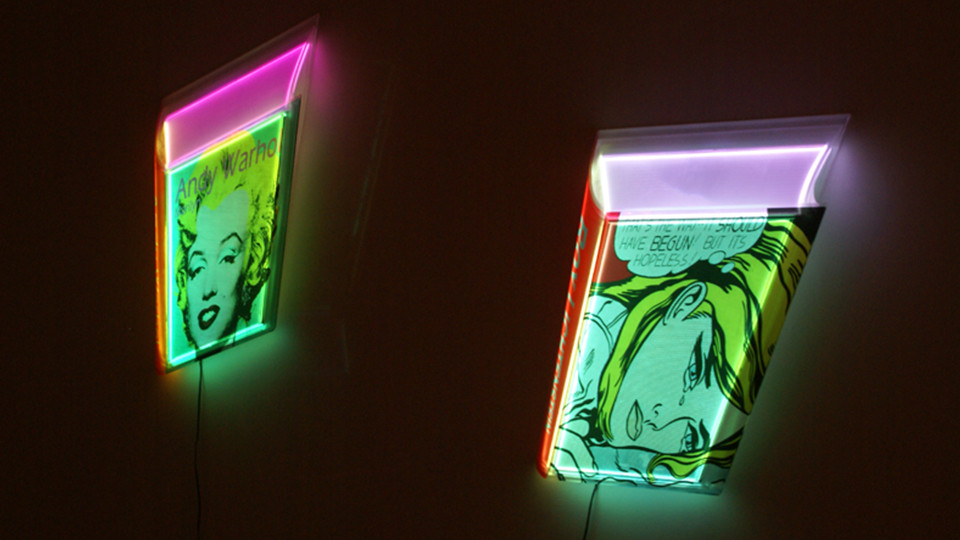 Airan Kang, Transformed Book - Andy Warhol, Roy Lichtenstein, 2011, plastic Box, LED lighting