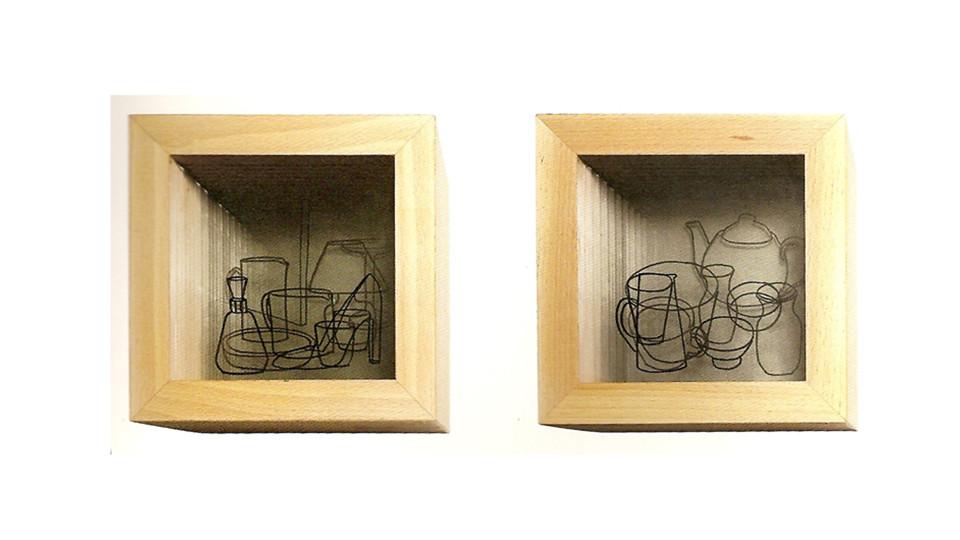 Hwang, Hae-Sun, Still Life, 2004, drawing on glass, oak wood, 24 x 24 cm