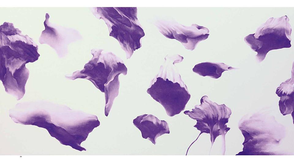 Secret Garden #262_white, violet, 2011, acrylics, oil stick on panel, 91 × 182 × 7 cm