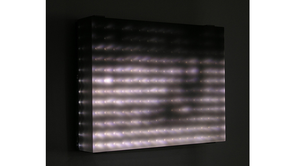 Jim Campbell, Reconstruction#4, 2005, customs electronics, LED panel, cast resin screen, 10 34x14 12 x 3 12