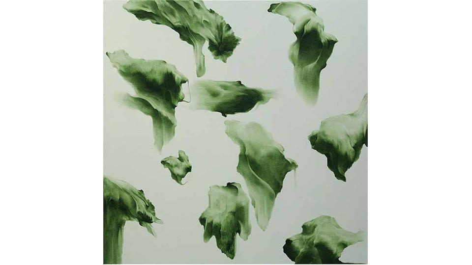 Secret Garden #256_light gray,sap green, 2011, acrylics, oilstick on canvas, 122×122×7cm
