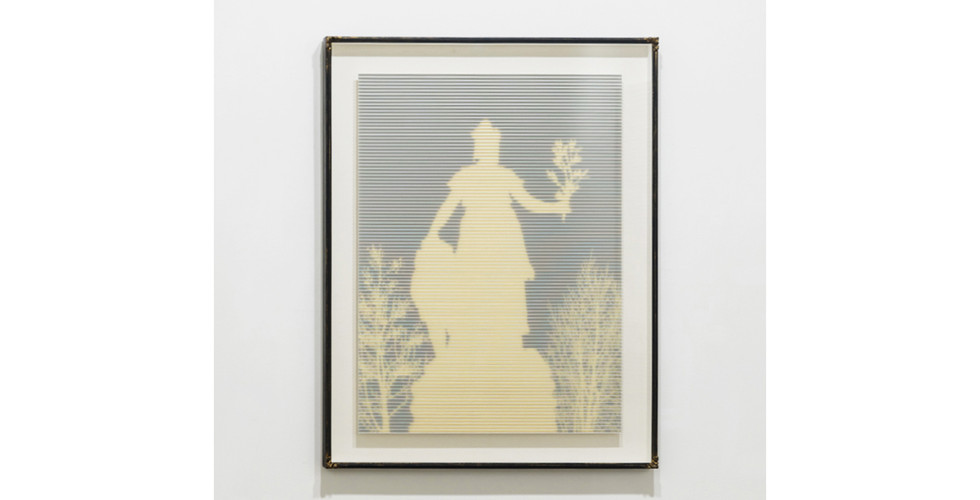 Golden Liberty, 2019, rising museum board, paint, gold ink, wooden frame, 101.7 x 81.7 x 6.5 cm