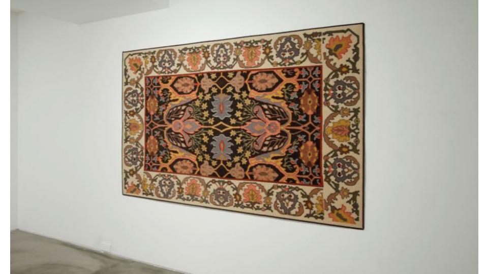 Lee Sekyung, Hair on the carpet, 2007, human hair glued on a carpet_original pattern- bidjar, west Persia 19.century, 216 x 135 cm