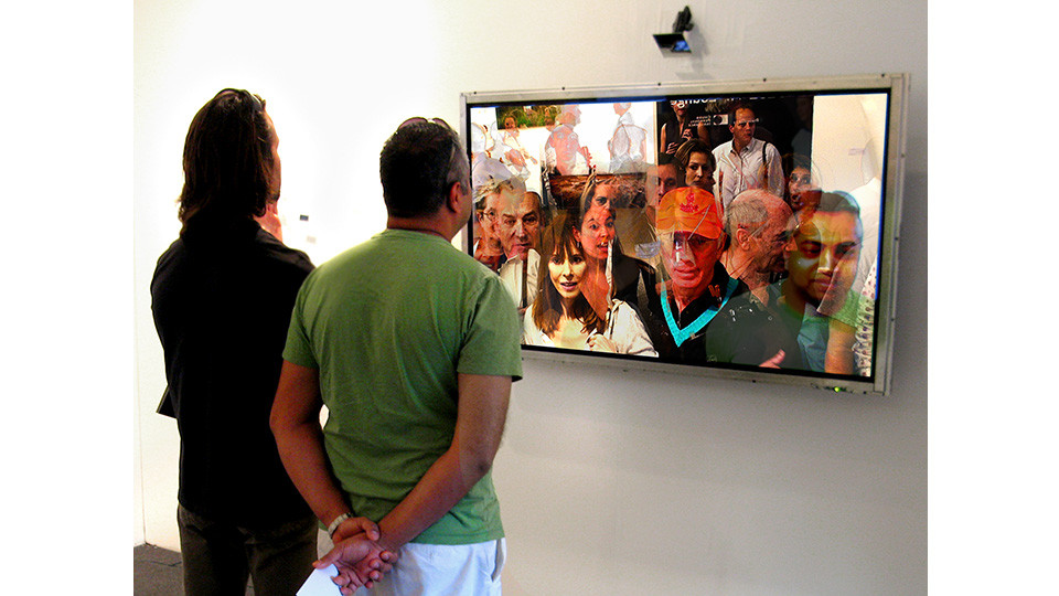 Lincoln Schatz, Cluster, 2006, generative video installation, camera, custom software, computer, plasma screen, 102 x 153 x 20 cm