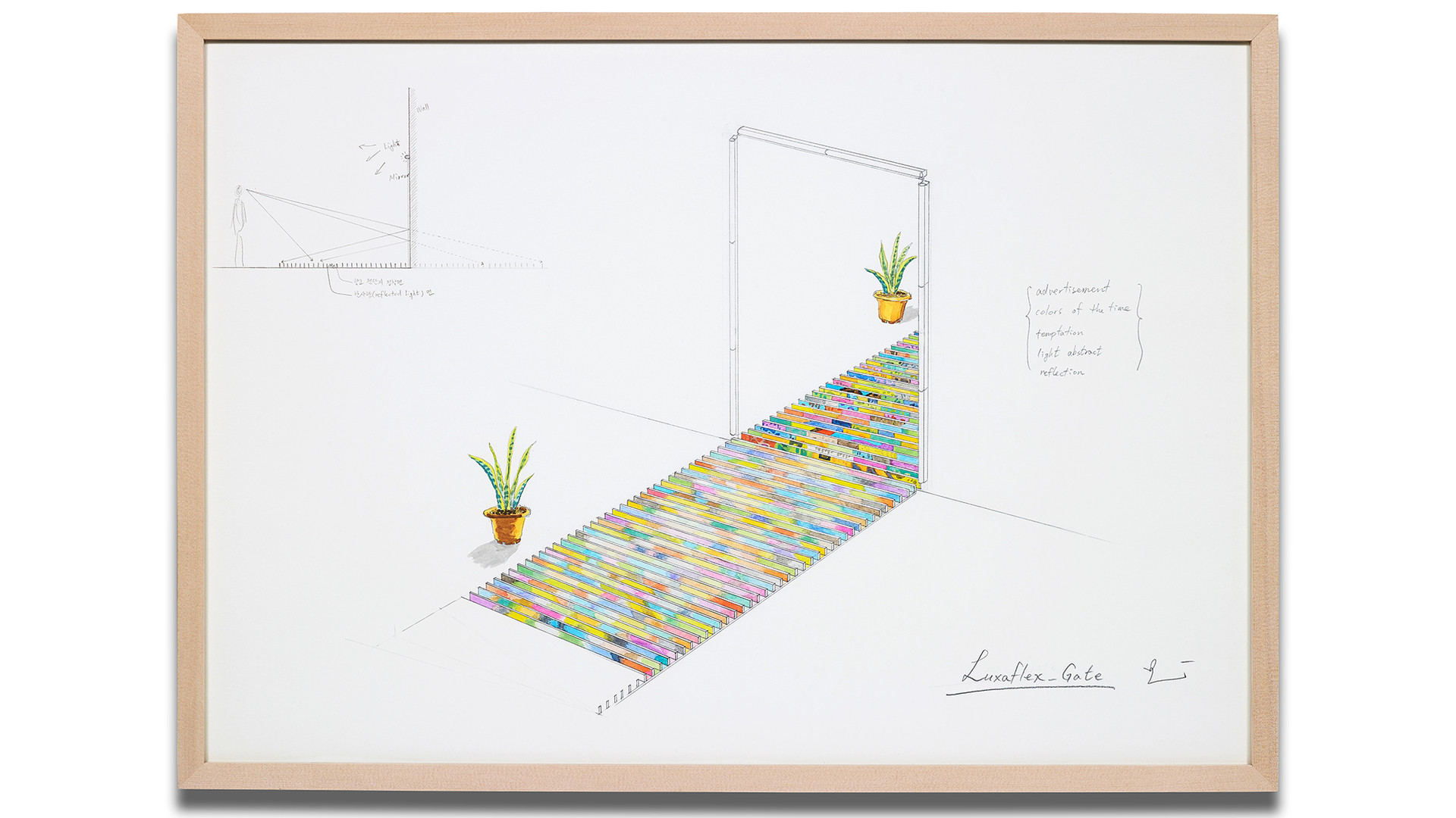 Changwon Lee, Luxaflex_Gate, 2017, pencil and watercolor on paper, 56.5x80cm