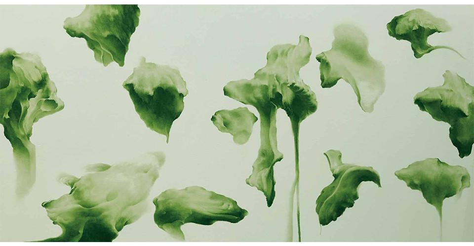 Secret Garden #261_light gray, sap green, 2011, acrylics, oil stick on panel, 91 × 182 × 7 cm