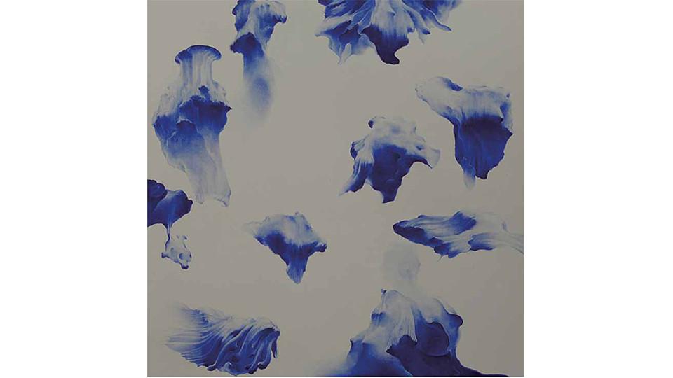 Secret Garden #255_neutral gray,ultramarine blue, 2011, acrylics, oilstick on canvas, 122×122×7cm