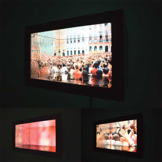 Persistency-broken, 2011, 21.5 inch LCD monitor  HD media player  4 pressed line drawings on plastic mirror, 56.7 x 36 x 41 cm