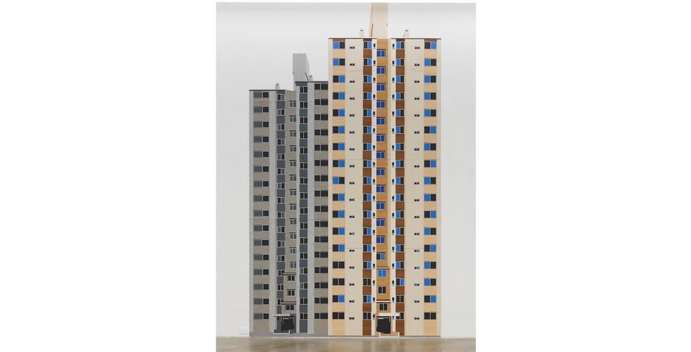 Inside out-Concrete, 콘크리트-안과 밖, 2016, self adhesive vinyl on corrugated plastic sheet, 420x237cm