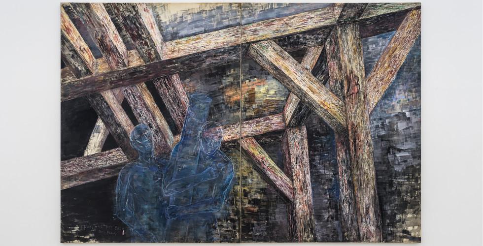 Oh Won Bae, Untitled, 1992, mixed media on canvas, 386 x 259 cm