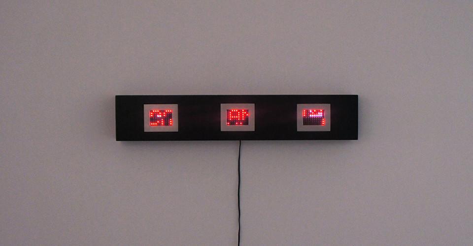 Jenny Holzer, Mini Matrix Text Selections from Truisms, 1977-79, 2004, 3 mini LED signs, 16.5 x 88 x 10.5 cm