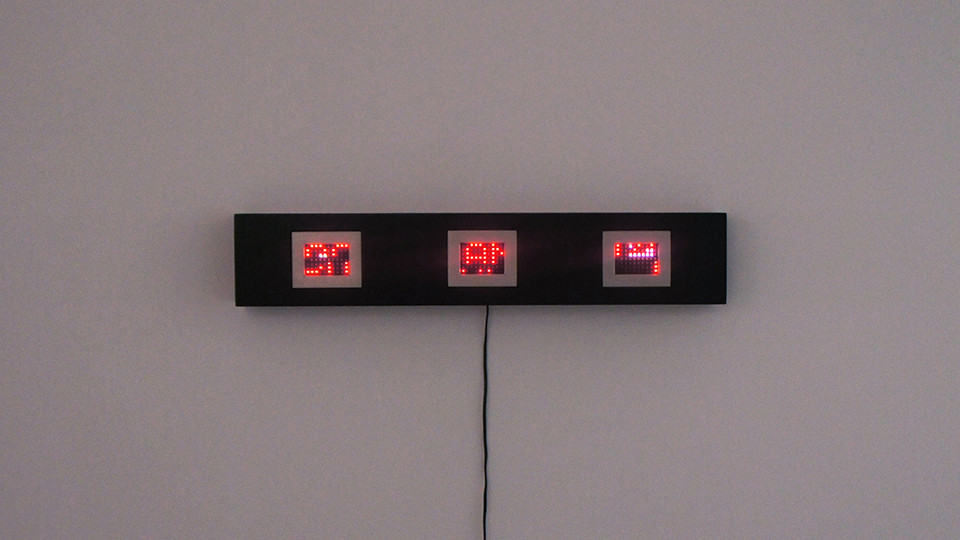 Jenny Holzer, Mini Matrix Text Selections from Truisms, 1977-79, 2004, 3 mini LED signs, 16.5 x 88 x 10.5 cm