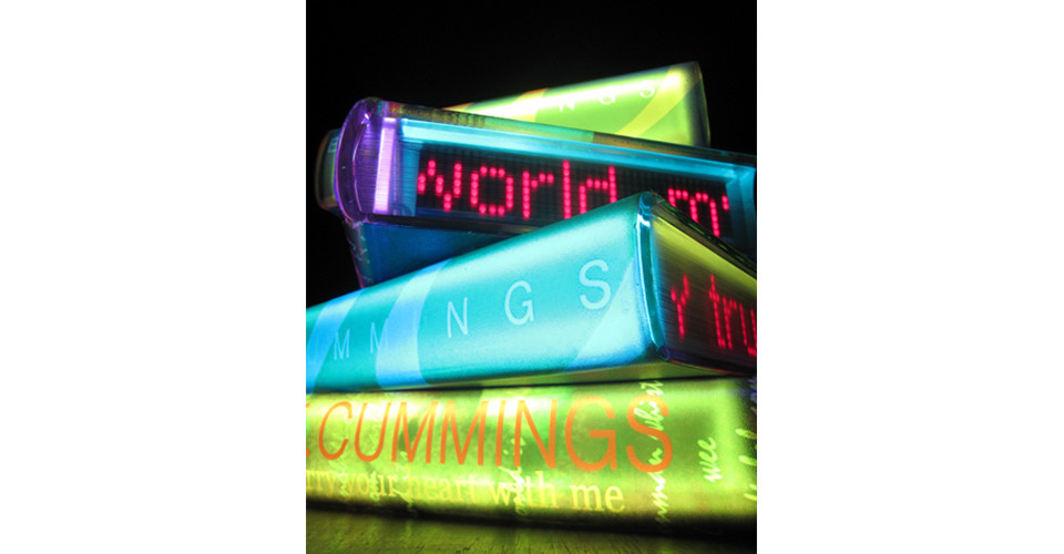 I carry your heart with me by E.E.Cummings, 2011, acrylic on canvas, LED lighting, 116.7 x 92 cm