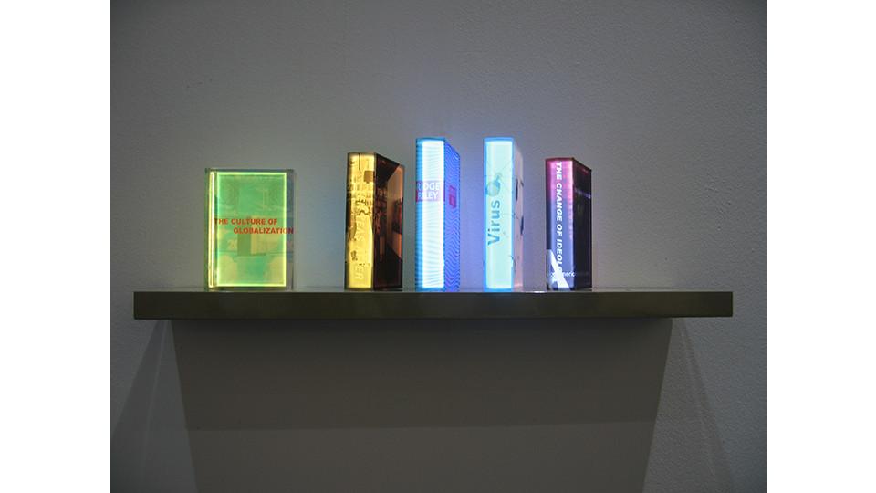 Lighting Books, 2008, LED lighting, plastic box, installation view