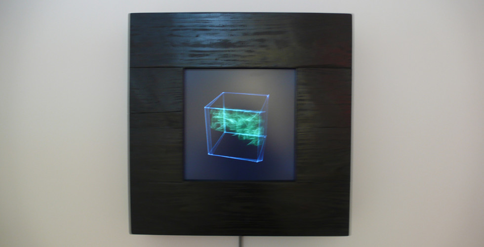 Choi, Sun-Myoung, Passover III, 2008, digital production, custom electronics, LCD, 100 years old wood frame, 63 x 64 cm
