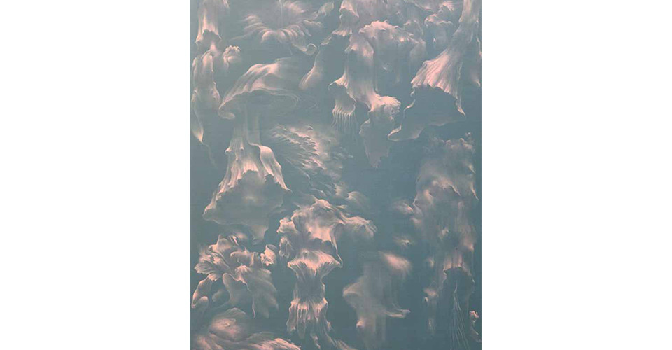 Secret Garden #269_green gray, pale pink, 2011, acrylics, oil stick on canvas, 146 × 112 cm
