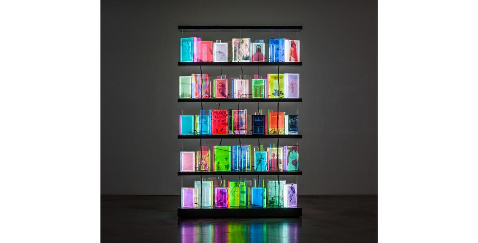 Airan Kang, Luminous Library, 2018, LED lighting book, plastic box, 150 x 230 cm